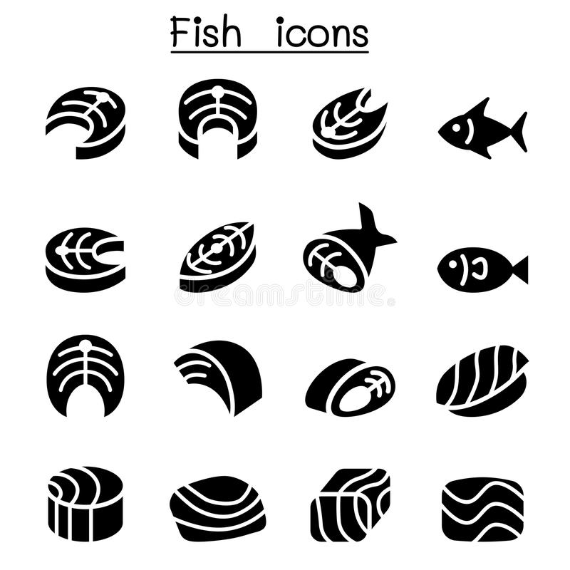 Icone della carne di pesce illustrazione vettoriale