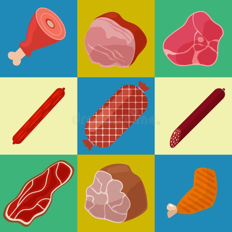 Icone della carne impostate Icone della macelleria Prodotti a base di carne royalty illustrazione gratis