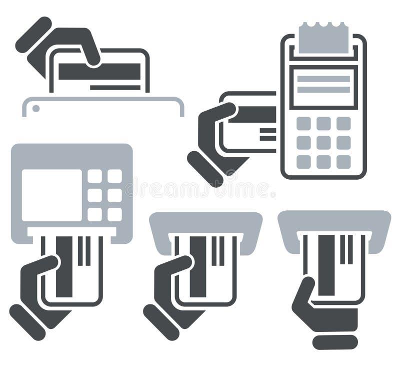 Icone della carta di credito di BANCOMAT, del Posizione-terminale e della mano royalty illustrazione gratis