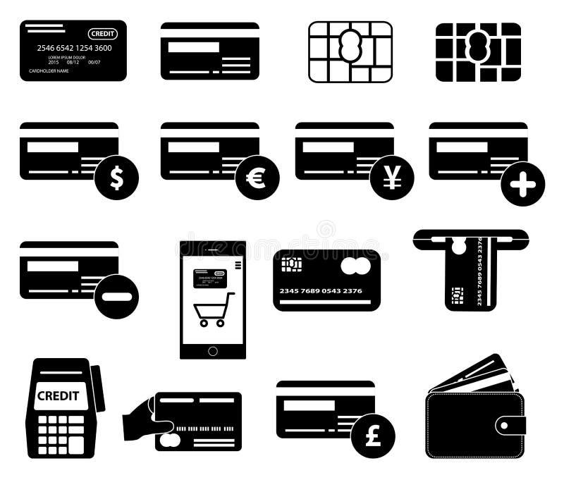 Icone della carta di credito messe illustrazione di stock