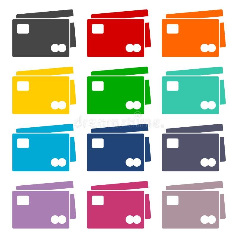 Icone della carta di credito messe illustrazione vettoriale