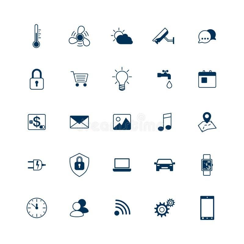 Icone della casa intelligente messe Internet del concetto di cose Sistema domestico astuto dell'elemento Illustrazione di vettore royalty illustrazione gratis