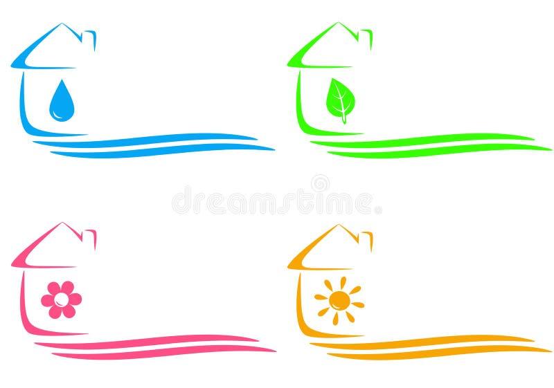 Icone della casa, riscaldamento e goccia di acqua e pla di eco illustrazione di stock