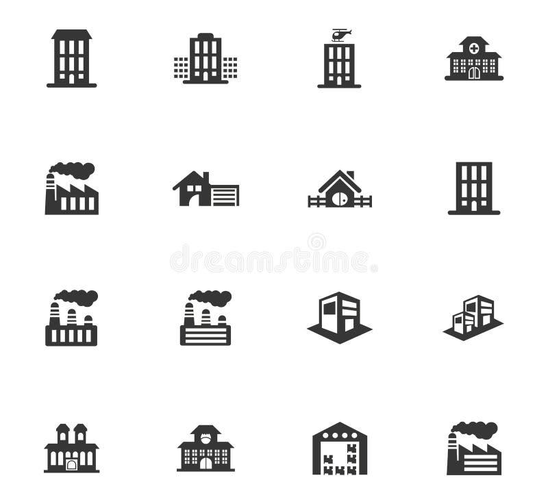 Icone della città dell'infrastruttura messe illustrazione di stock