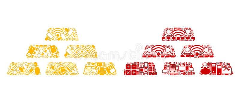 Icone della composizione nei mattoni del tesoro per BigData royalty illustrazione gratis