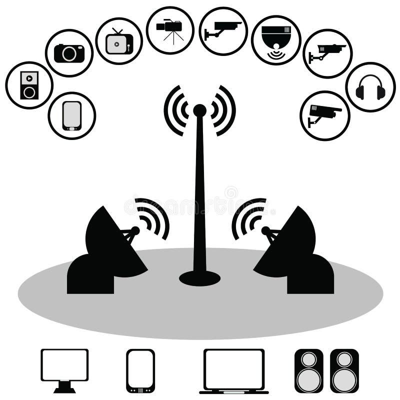 Icone della comunicazione globale e di tecnologia wireless illustrazione vettoriale