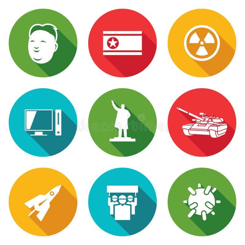 Icone della Corea del Nord messe Illustrazione di vettore illustrazione vettoriale