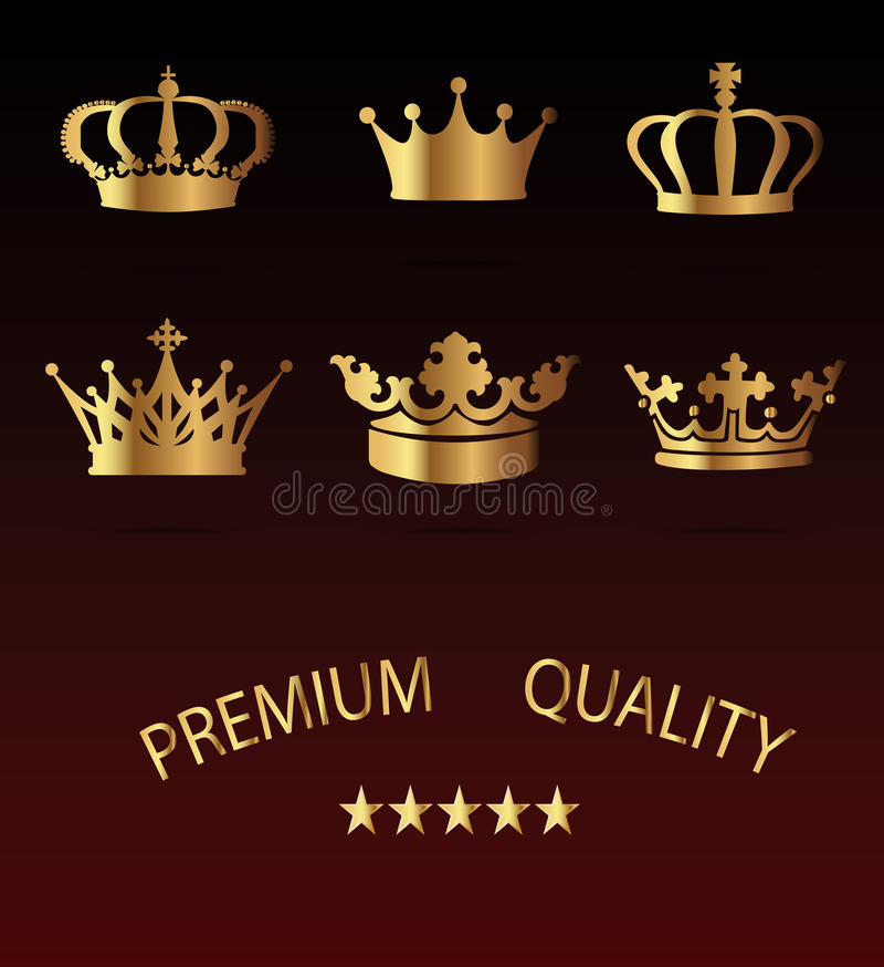 Icone della corona messe - isolato su fondo nero illustrazione di stock