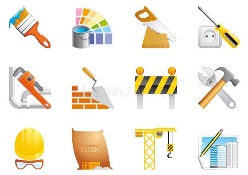 Icone della costruzione e di architettura royalty illustrazione gratis