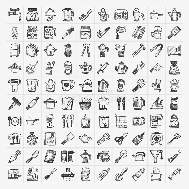 Icone della cucina di scarabocchio illustrazione vettoriale