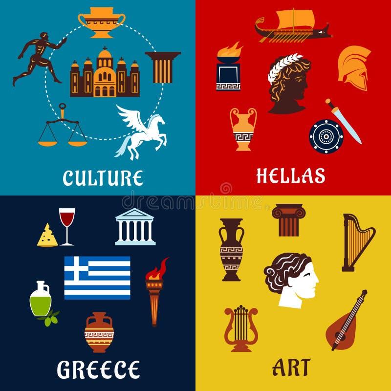 Icone della cultura, di arte e di storia della Grecia royalty illustrazione gratis