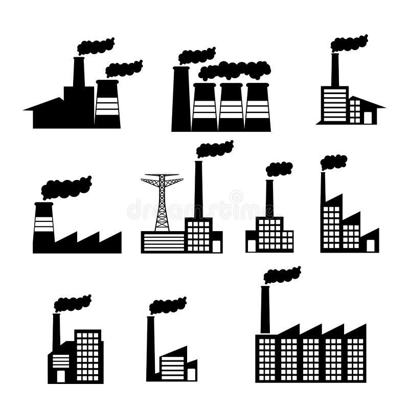 Icone della fabbrica illustrazione vettoriale