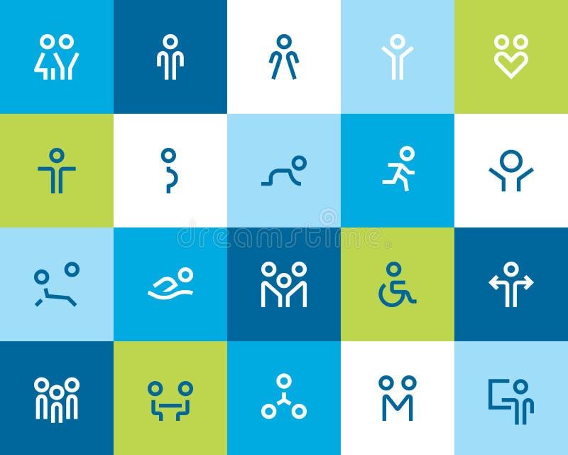 Icone della famiglia e della gente. Piano royalty illustrazione gratis