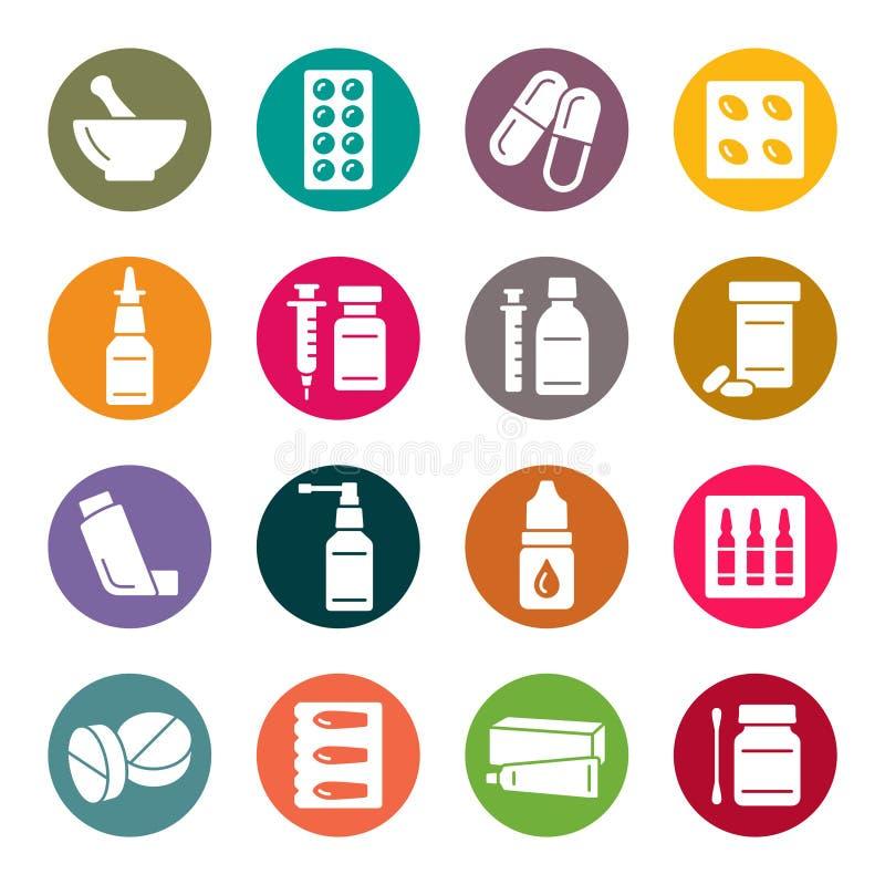 Icone della farmacia illustrazione di stock