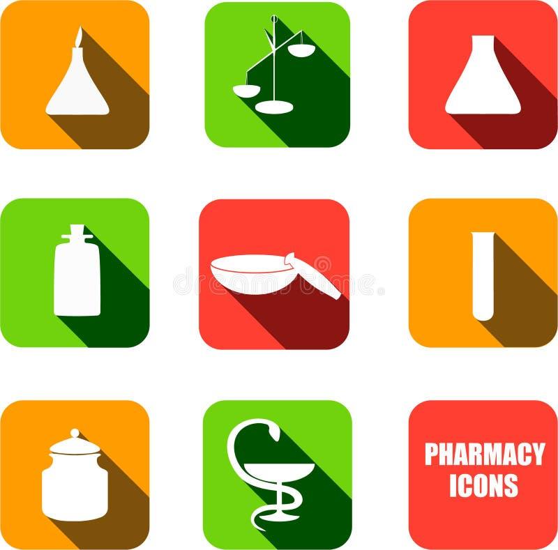 Icone della farmacia di vettore immagini stock