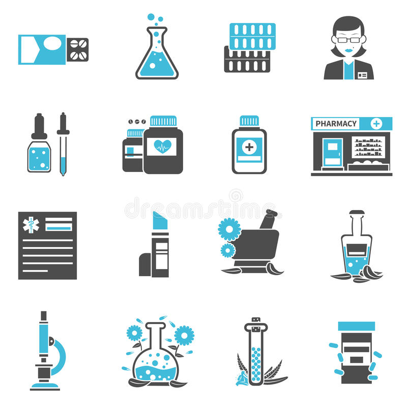 Icone della farmacia messe illustrazione di stock