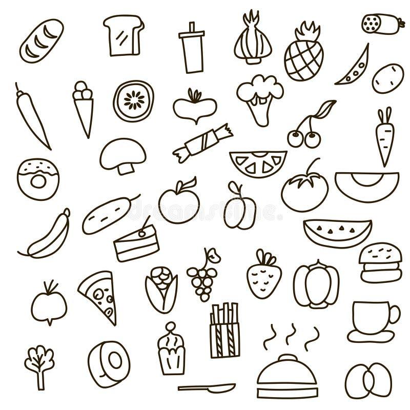 Icone della frutta, delle verdure e dell'alimento uno scarabocchio disegnato a mano nello stile Illustrazione di vettore royalty illustrazione gratis