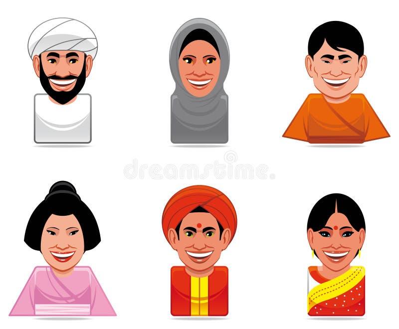 Icone della gente del mondo dell'incarnazione (arabo, giapponese, indiano) illustrazione vettoriale