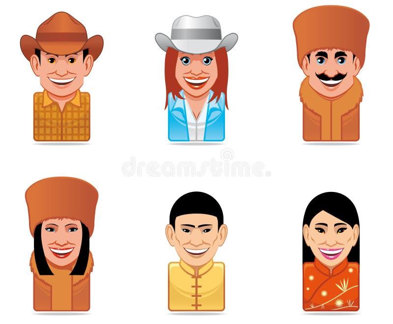 Icone della gente del mondo dell'incarnazione (noi, Russo, cinesi) illustrazione di stock