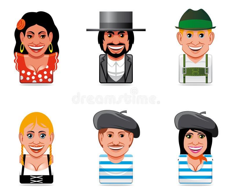 Icone della gente del mondo dell'incarnazione (spagnolo, tedesco, frenc royalty illustrazione gratis
