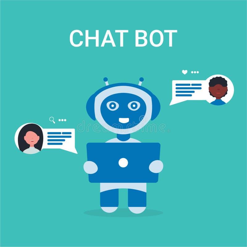 Icone della gente del robot del bot di chiacchierata royalty illustrazione gratis