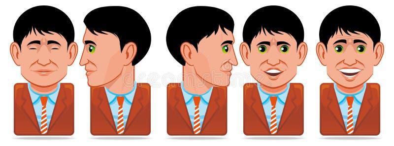 Icone della gente dell'incarnazione (espressione facciale: lampeggio, rotat illustrazione di stock