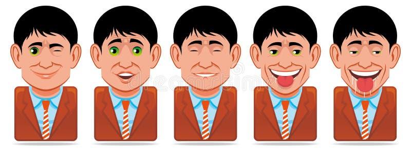 Icone della gente dell'incarnazione (espressione facciale: strizzatina d'occhio, surpri illustrazione vettoriale