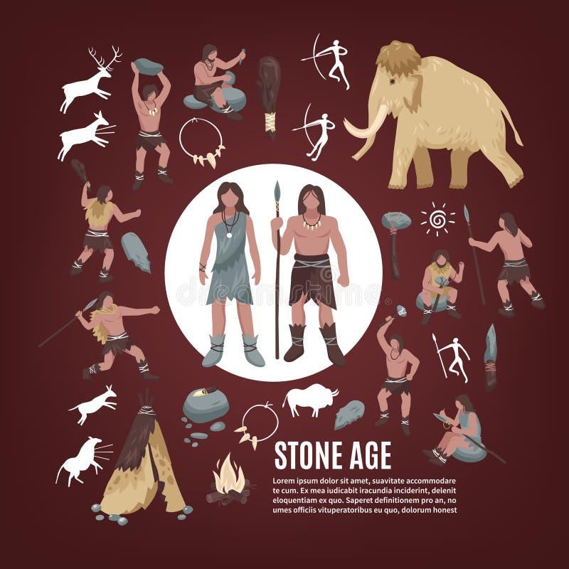 Icone della gente di età della pietra messe royalty illustrazione gratis
