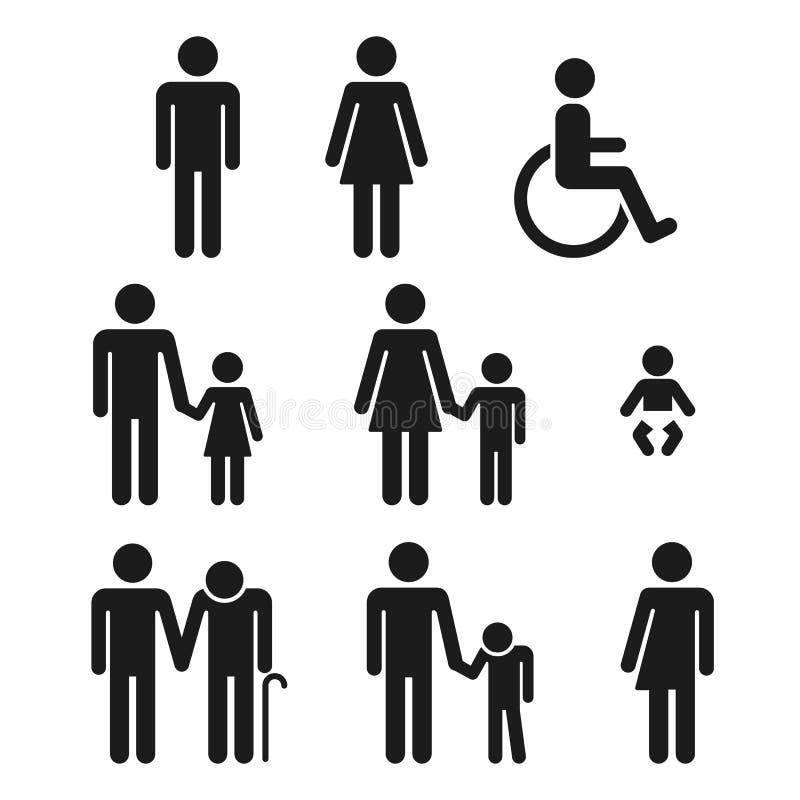 Icone della gente di simboli del bagno illustrazione vettoriale