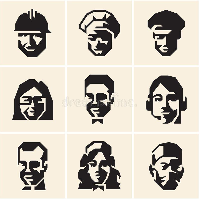 Icone della gente occupazioni professioni illustrazione vettoriale