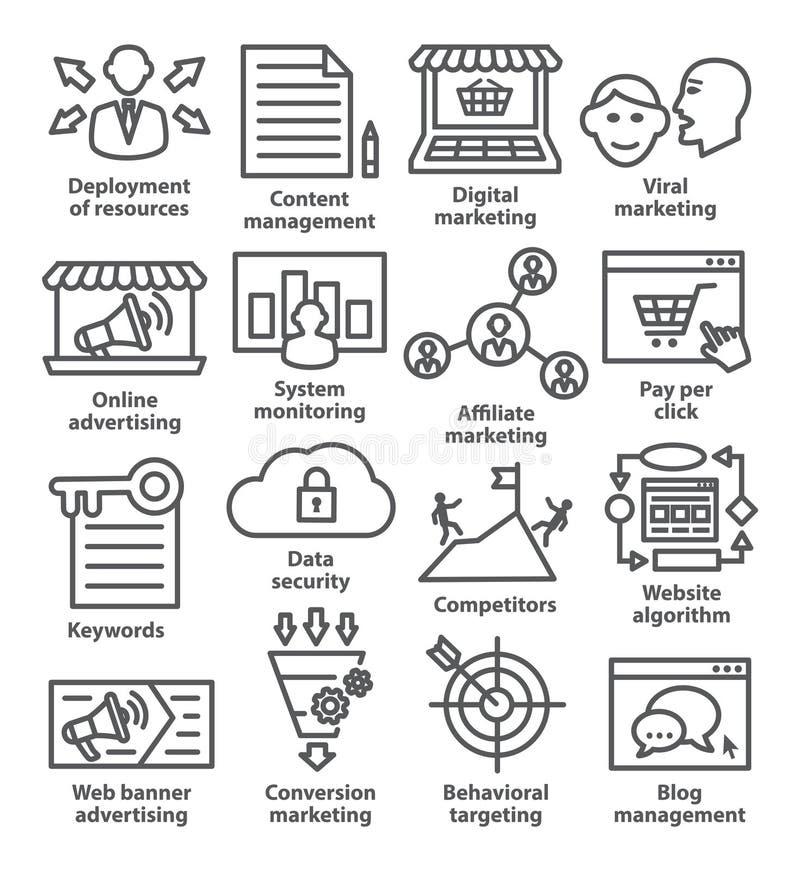 Icone della gestione di impresa nella linea stile Pacchetto 24 illustrazione di stock