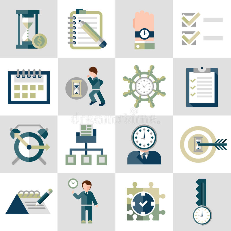 Icone della gestione di tempo messe illustrazione vettoriale