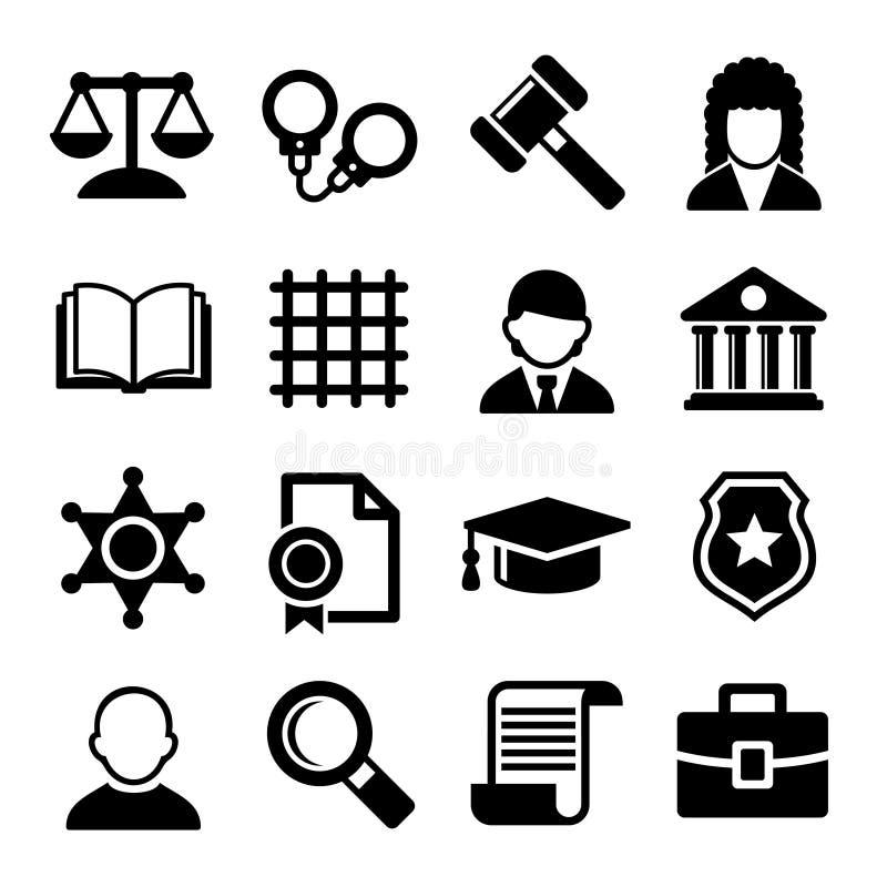 Icone della giustizia e di legge messe Vettore illustrazione vettoriale