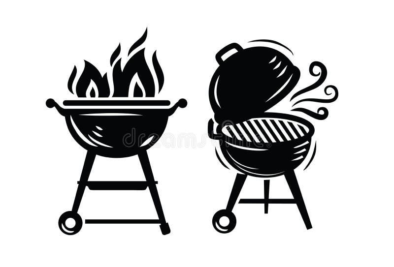 Icone della griglia del BBQ illustrazione vettoriale