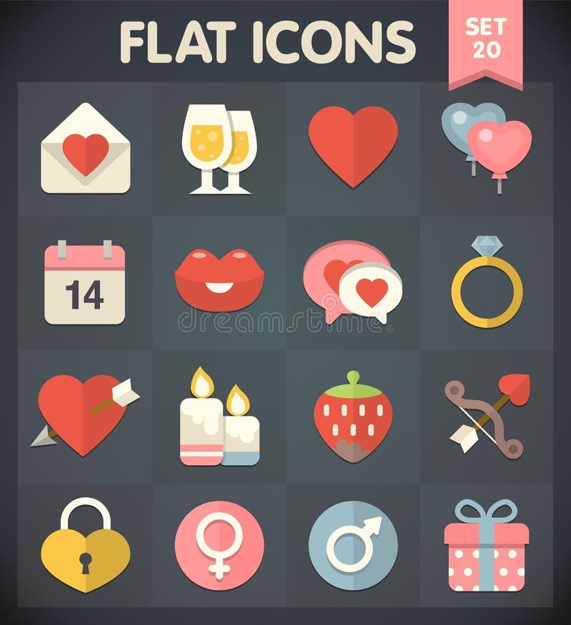Icone della lamina piatta universale per il giorno di biglietti di S. Valentino illustrazione di stock