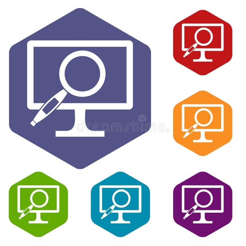 Download Icone Della Lente D'ingrandimento Del Monitor Del Computer Messe Illustrazione Vettoriale - Illustrazione di comunicazione, multimedia: 117979003