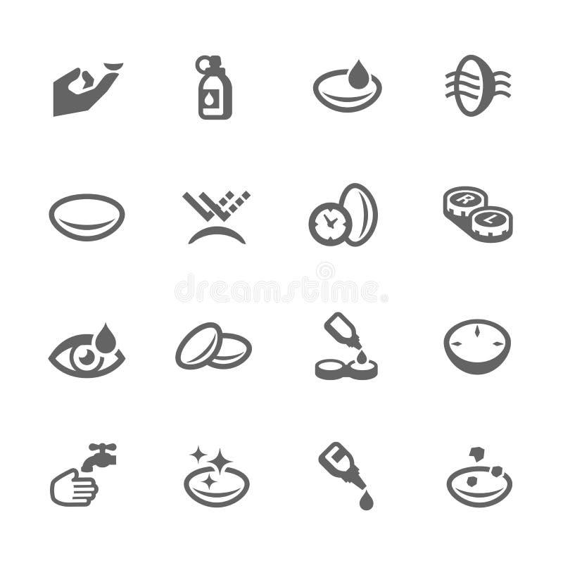 Icone della lente di occhio illustrazione di stock