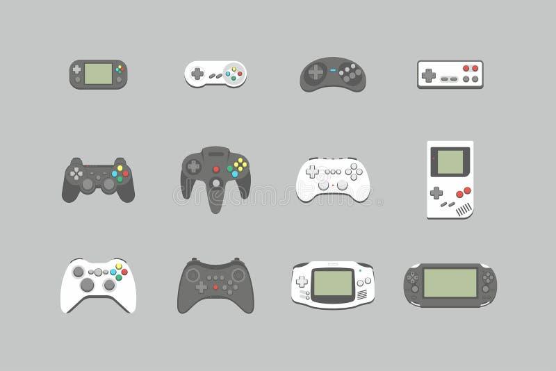 Icone della leva di comando dei video giochi messe royalty illustrazione gratis