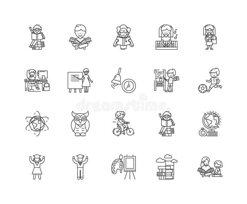 Icone della linea centrale di sviluppo infantile, segni, insieme di vettore, concetto dell'illustrazione del profilo royalty illustrazione gratis