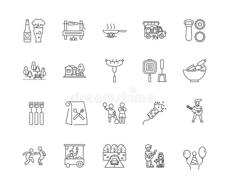 Icone della linea del partito del barbecue, segni, insieme di vettore, concetto dell'illustrazione del profilo royalty illustrazione gratis