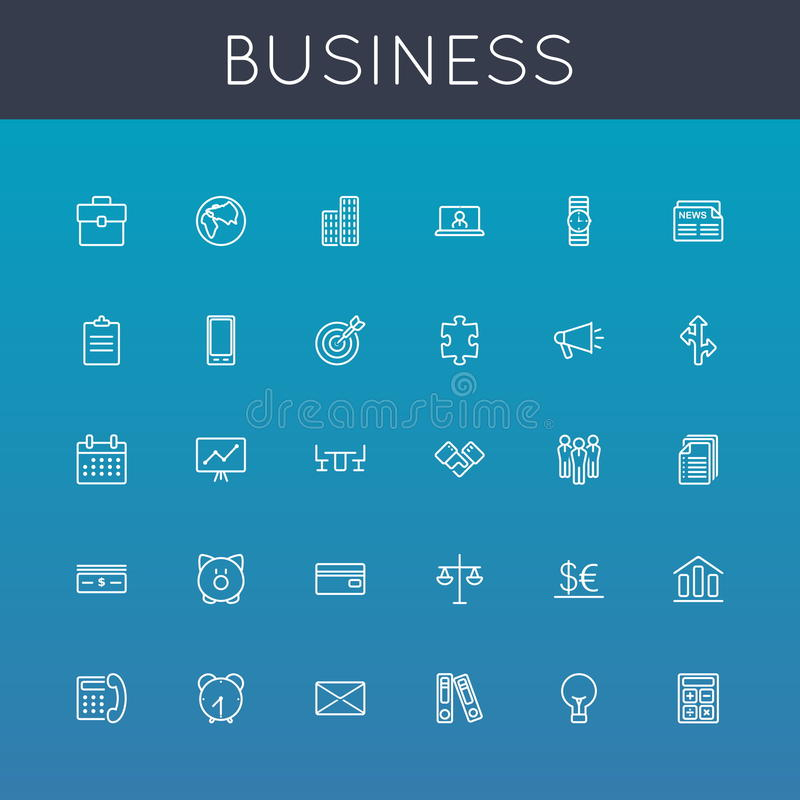 Icone della linea di business di vettore royalty illustrazione gratis