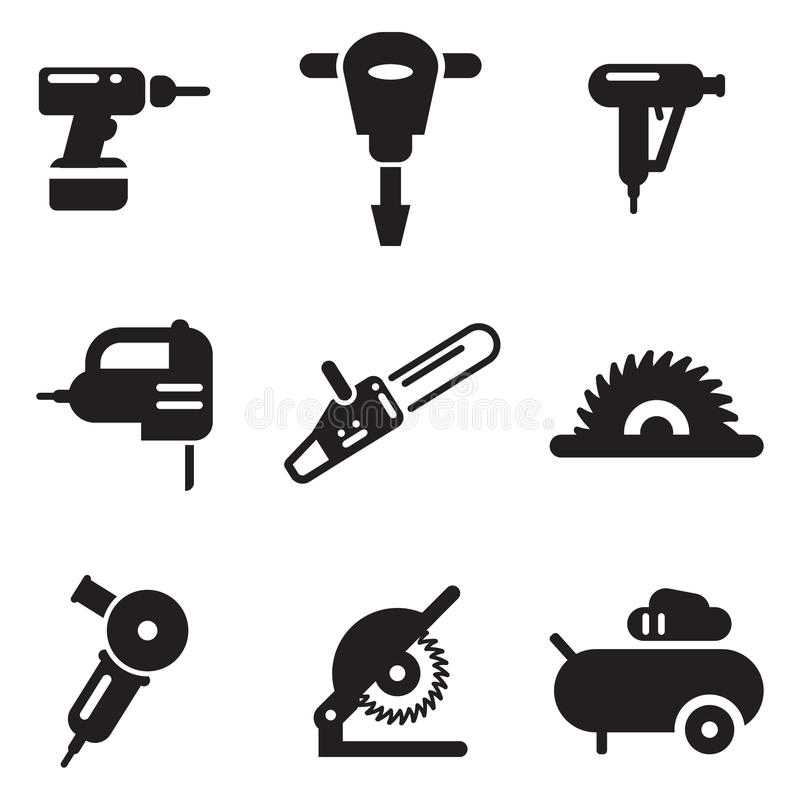 Icone della macchina utensile illustrazione di stock