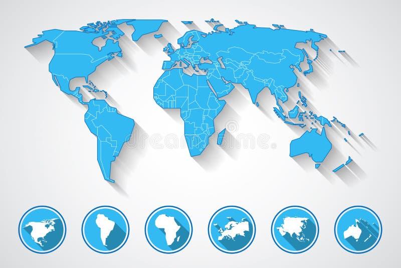 Icone della mappa e del continente di mondo illustrazione di stock