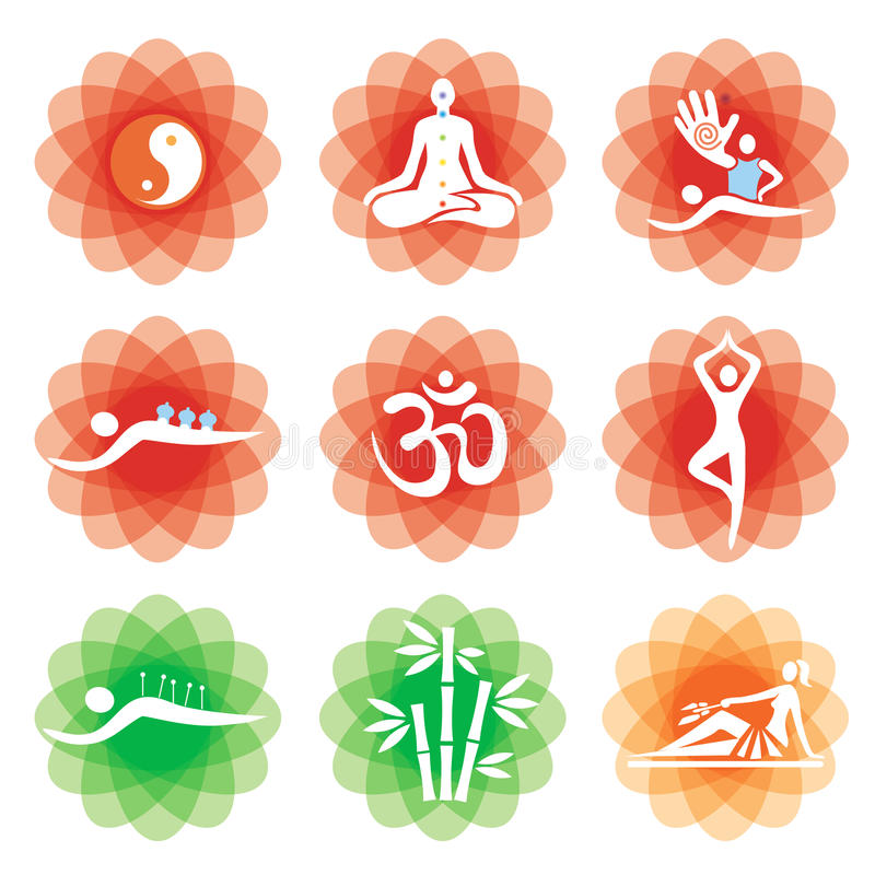 Icone della medicina alternativa di massaggio di yoga royalty illustrazione gratis