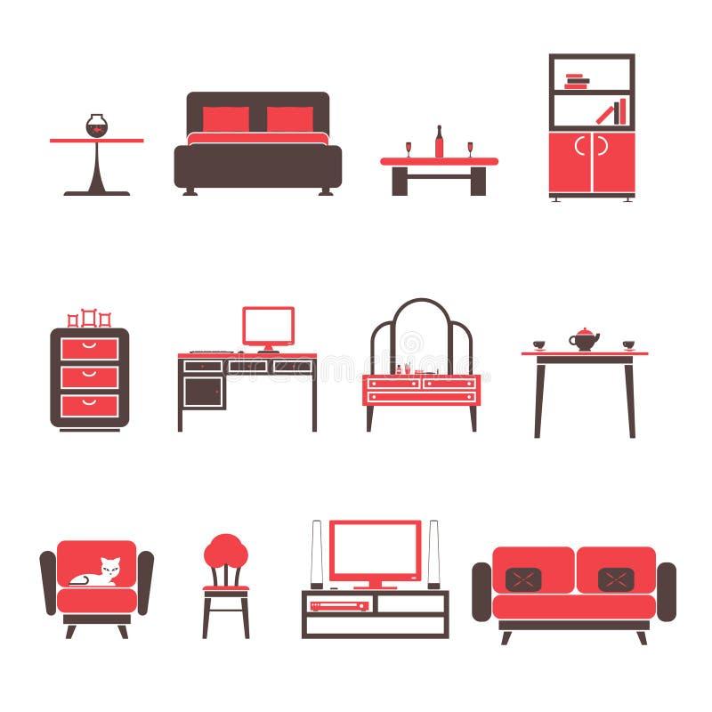 Icone della mobilia ed insieme di simboli piani per l'illustrazione di vettore isolata salone royalty illustrazione gratis