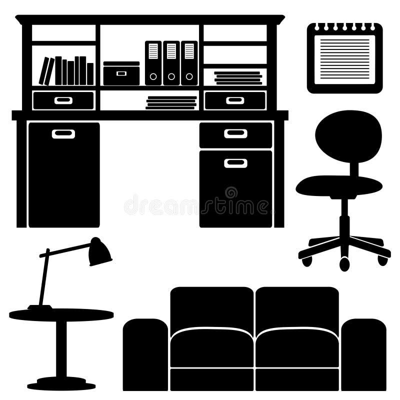Icone della mobilia, insieme ufficio/del salone royalty illustrazione gratis