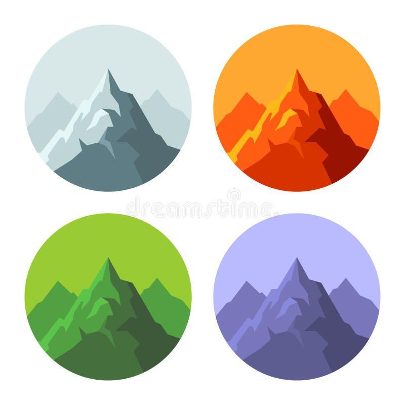 Icone della montagna di colore messe su fondo bianco Vettore illustrazione di stock