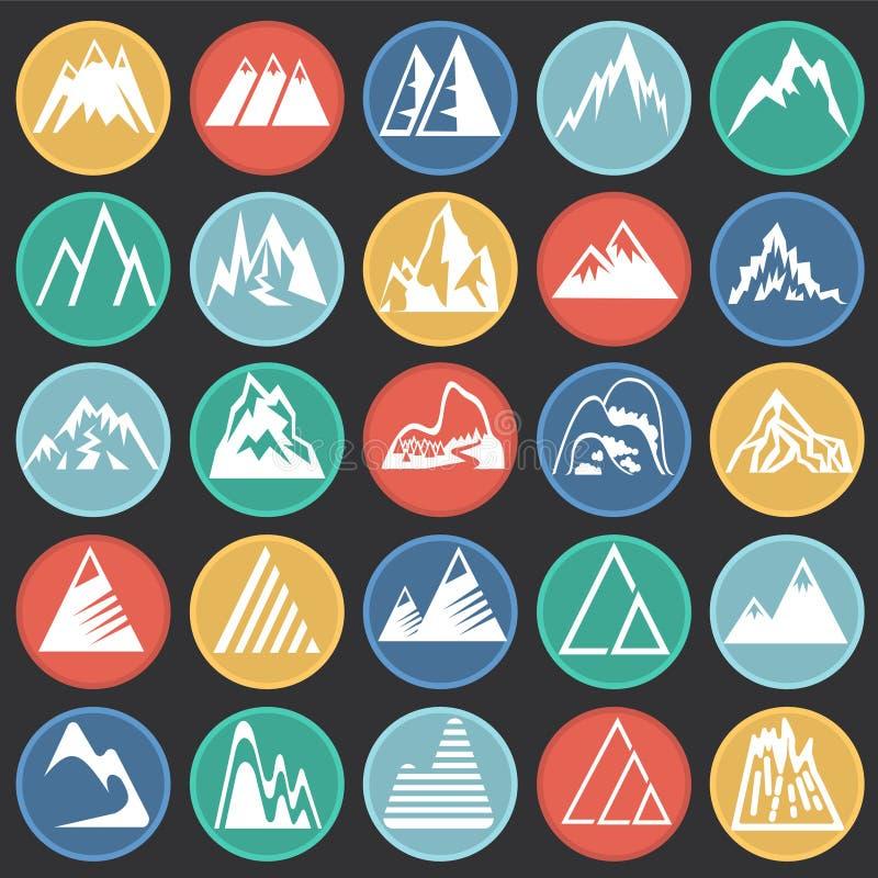 Icone della montagna messe sul fondo nero dei cerchi di colore per il grafico ed il web design, segno semplice moderno di vettore illustrazione di stock