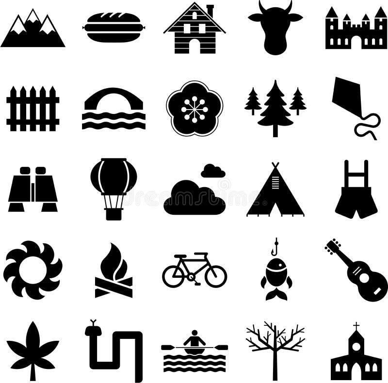 Icone della natura, di campeggio e di attività esterne illustrazione di stock