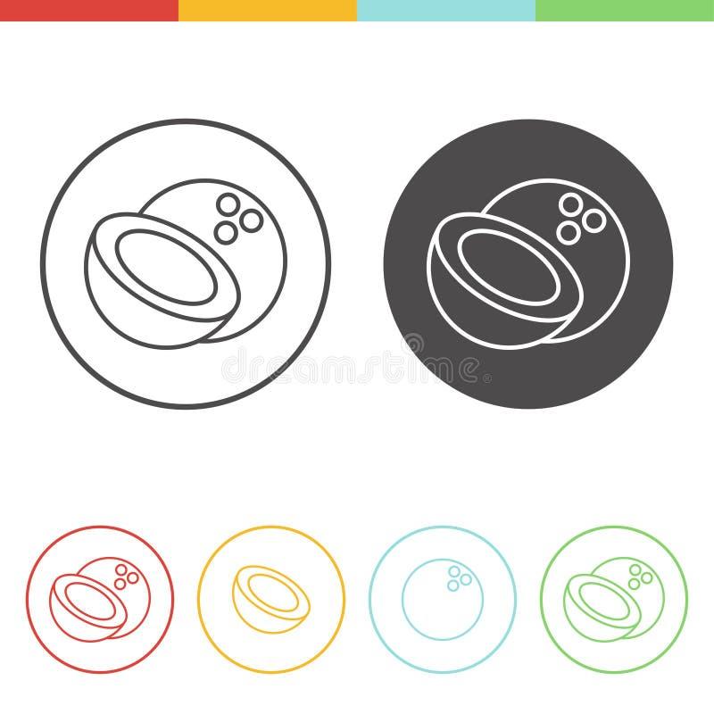 Icone della noce di cocco royalty illustrazione gratis